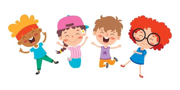 一緒に遊ぶ幸せな多民族の子供たち