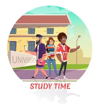 Happy multiracial pedagogue back to university