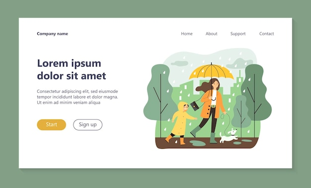 Happy mum walking in raining day with dog and son landing page