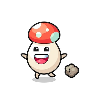 The happy mushroom cartoon with running pose , cute style design for t shirt, sticker, logo element