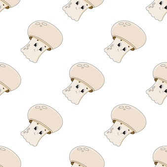 Happy mushroom seamless pattern