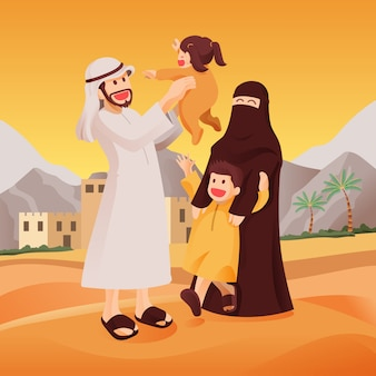 Happy muslim arab family together in celebration, father lift his daughter with mother and her son enjoy themselves in the desert