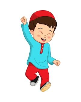 흰색 바탕에 행복 한 이슬람 소년 만화
