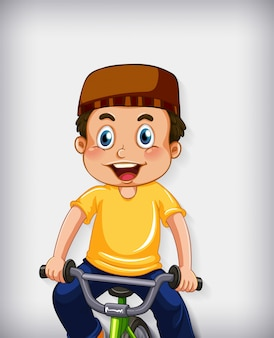 Счастливый мусульманский мальчик, езда на велосипеде