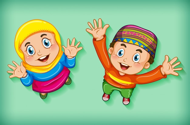 Happy muslim children from aerial view