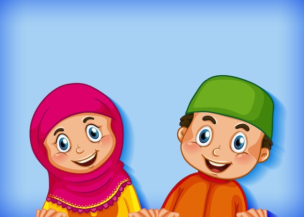 Happy muslim couple on colour gradient background