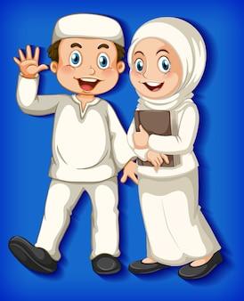 컬러 그라데이션 배경에 행복 한 이슬람 커플