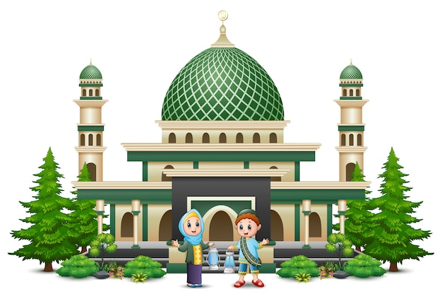 Happy muslim family in front of a mosque