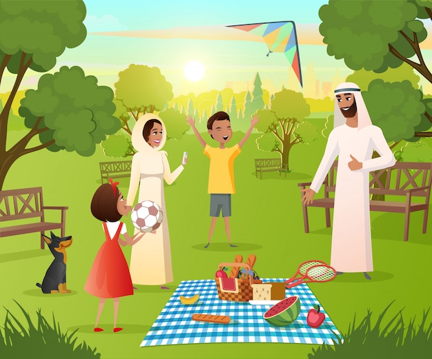 Happy muslim family on picnic in city park vector