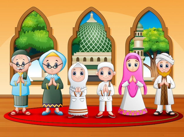 Happy muslim family wishing at the mosque