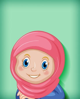 행복 한 이슬람 소녀 만화 캐릭터 무료 벡터