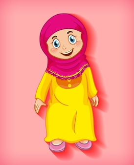 Happy muslim girl cartoon character