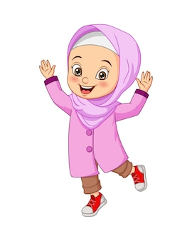 Happy muslim girl cartoon illustration