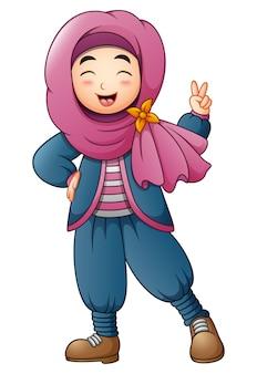 二人の指を与えるハッピーイスラム女の子