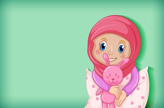 パジャマで幸せなイスラム教徒の少女