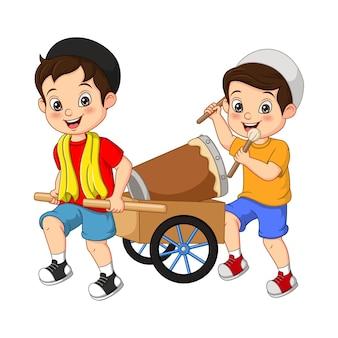 Happy muslim kid cartoon hitting bedug on cart