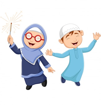 Happy muslim kid cartoon