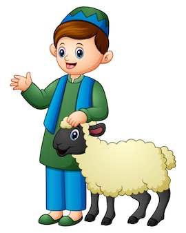 Happy muslim kid holding sheep