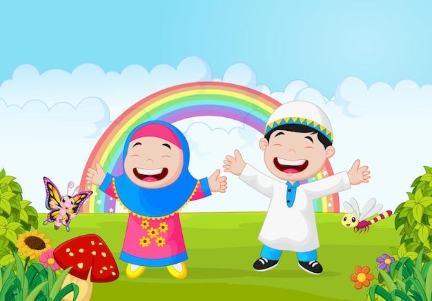 Happy muslim kid waving hand with rainbow
