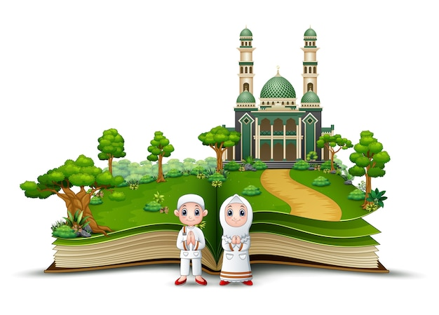 Happy muslim kids cartoon in front of a mosque