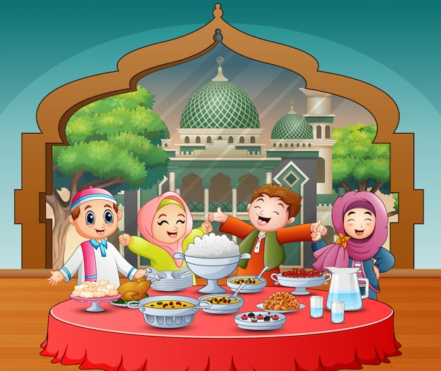 Happy muslim kids celebrating the iftar party