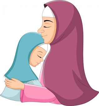 Happy muslim mother hugging her daughter