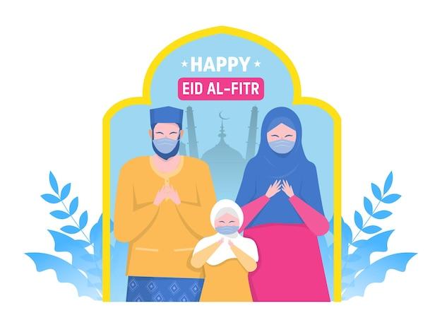 Счастливые родители-мусульмане и ребенок молятся о персонажах религиозного праздника в мультяшной квартире