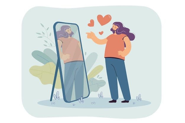 Happy narcissist girl looking at herself at mirror, admiring her beautiful reflection. cartoon illustration
