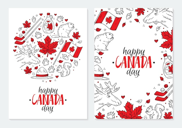 Happy national day of canada a set of postcards or posters with traditional red  symbols