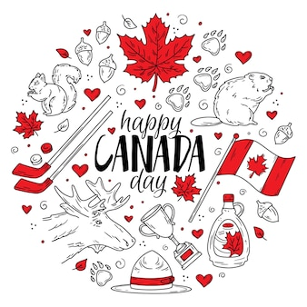 Happy national day of canada a set of traditional doodle icons circular concept