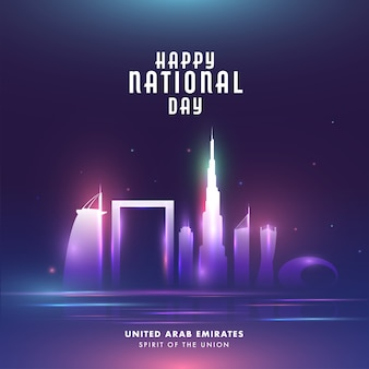 Happy national day celebration poster  with famous architecture or monuments and lights
