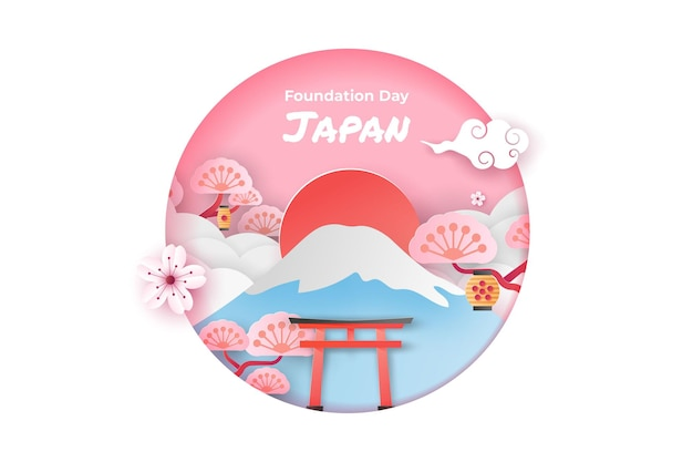 切り絵アートスタイルのハッピー建国記念日日本