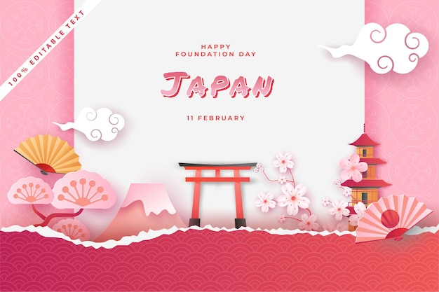 Happy national foundation day japan in paper cut art style with editable text effect