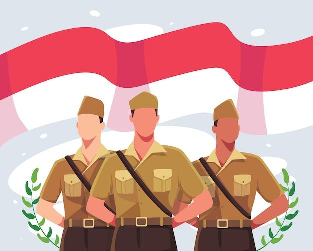 幸せな国民的英雄の日。インドネシアの赤と白の旗を背景にしたヴィンテージの制服を着たインドネシアの兵士。インドネシアの国民的英雄の日のお祝い。フラットスタイルのベクトル図