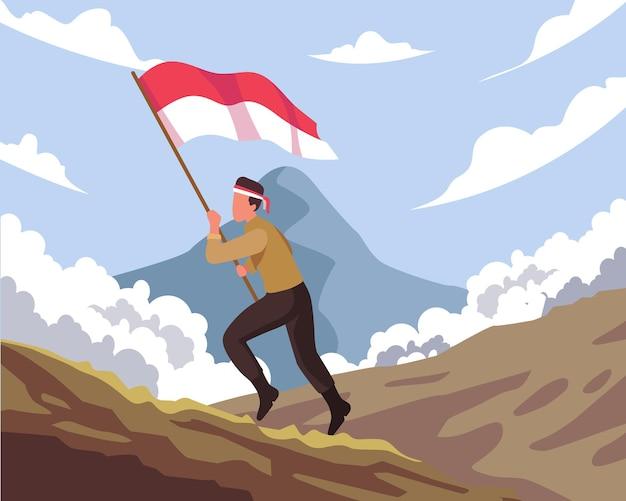 幸せな国民的英雄の日。インドネシアの旗を持って走っているインドネシアの兵士。インドネシアの国民的英雄の日のお祝い。フラットスタイルのベクトル図