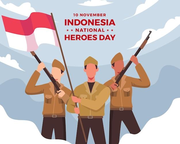 幸せな国民的英雄の日。ライフルを持ち、インドネシアの赤と白の旗を持っている兵士。インドネシアの国民的英雄の日のお祝い。フラットスタイルのベクトル図