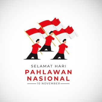Happy national veterans day banner template indonesia waving flag