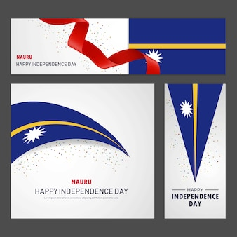 Happy nauru independence day banner and background set