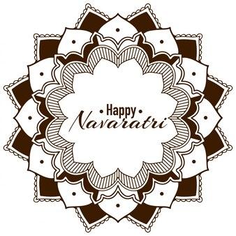 Happy navatri greeting card with mandala