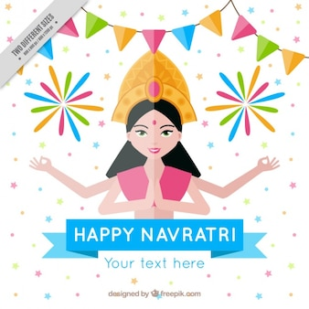 Happy navratri background in flat design