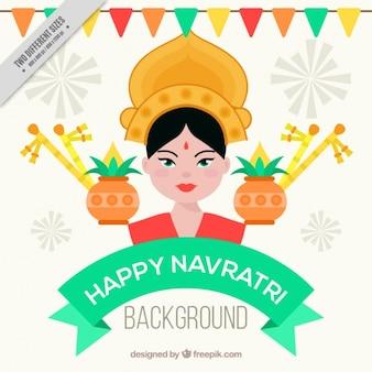 Happy navratri background with durga goddess