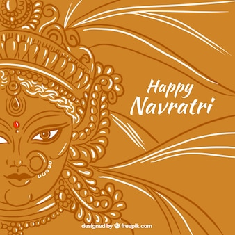 Happy navratri background with durga's face