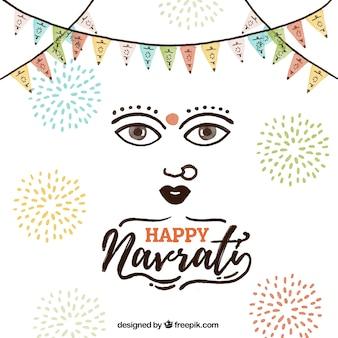 Happy navratri background with fireworks