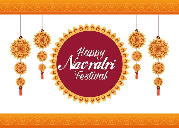 Happy navratri празднование карты надписи с украшениями висит