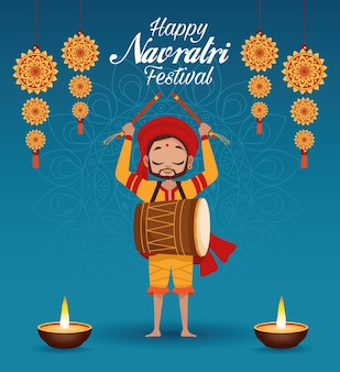 Happy navratri celebration card lettering with man playing drum and candles
