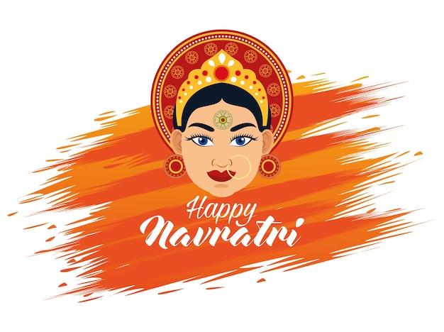 Счастливая праздничная открытка наваратри с красивой богиней и надписью