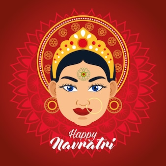 Happy navratri celebration card with beautiful goddess in red background