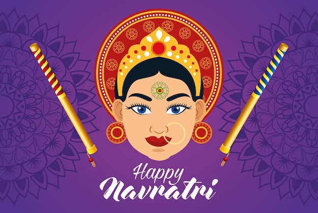 Happy navratri celebration card with beautiful goddess and sticks