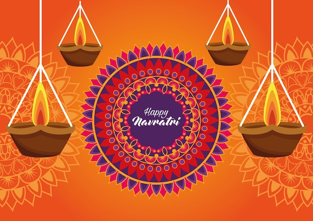 Happy navratri celebration card with candles hanging and mandala