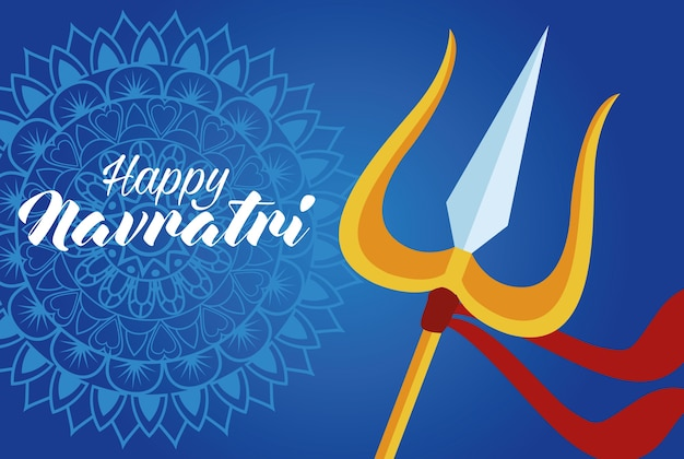 Happy navratri celebration card with trident and lettering